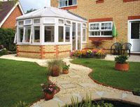 p-shield conservatory in wite with brick base